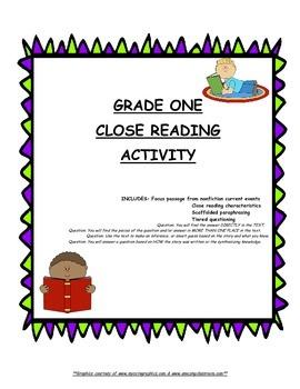 Close Reading Grade One - Mayor Passage