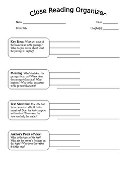 Close Reading Graphic Organizer