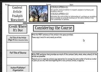 Close Reading Graphic Organizer/Activity Bundle, Common Co