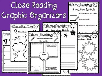 Close Reading Graphic Organizers for Any Fiction or Nonfiction Text