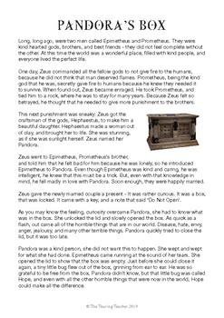 Close Reading - Greek Mythology - Pandora's Box