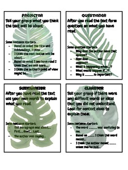 Close Reading Group Task Cards- Tropical Leaves