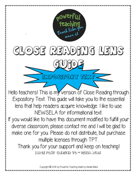 Close Reading Guide- Expository/Informational Text