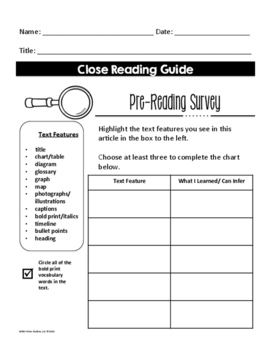 Close Reading Guide (Text Features and Main Idea Practice)