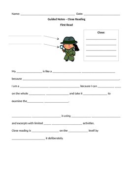 Close Reading Guided Notes