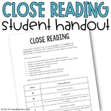 Close Reading Student Reference Handout Page