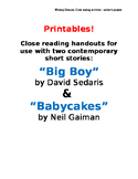 Close Reading Handouts for Big Boy and Babycakes - author's purpose