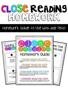 Close Reading Homework Guide to Use With ANY Text!
