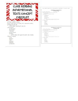 Close Reading Informational Text Concept Checklist