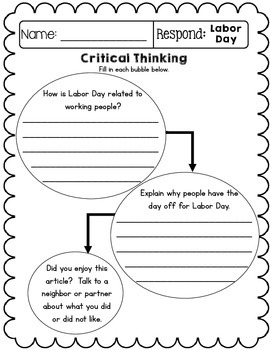 Close Reading Informational Text and Comprehension - Month of September