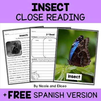 Insect Close Reading Passage Activities