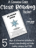 Close Reading Interactive Packet - All About Snow