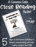 Close Reading Interactive Story - Animals in the Fall