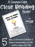 Close Reading Interactive Story - How to Make Ice Cream