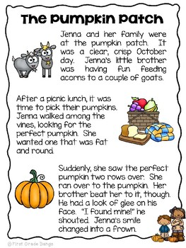 Close Reading Interactive Story- The Pumpkin Patch