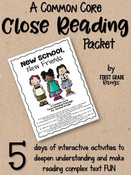 Close Reading Interactive Story for 2nd grade - New School, New Friends