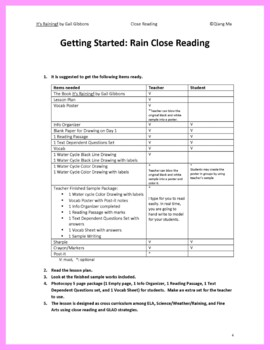 Close Reading: It' Raining! by Gail Gibbons