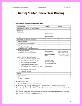 Close Reading: It's Snowing!