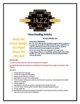 Close Reading - Jazz Age