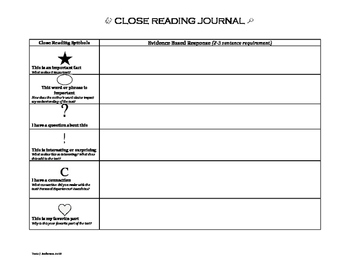 Evidence Based Close Reading Journal