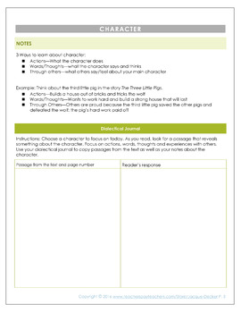 Close Reading Journal for Independent Reading or Homework