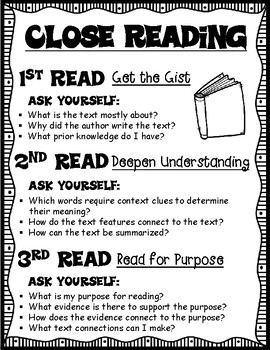 Close Reading Kid Friendly Reference Sheet for Any Fiction or Nonfiction Text