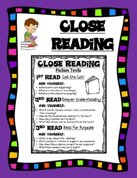 Close Reading Kid Friendly Reference Sheet for Any Fictional Text