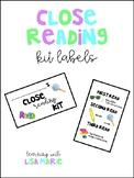 Close Reading Kit Labels