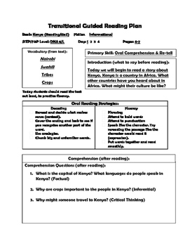 Close Reading LP and Worksheets Level L Kenya
