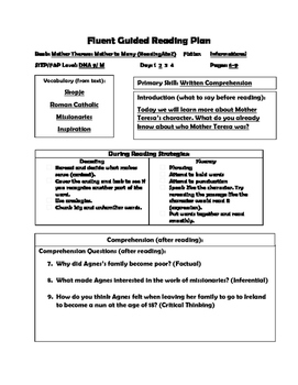 Close Reading LP and Worksheets Level M Mother Teresa Mother to All