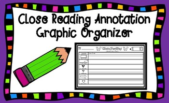 Close Reading Legal-Sized Graphic Organizer for Any Fiction or Nonfiction Text