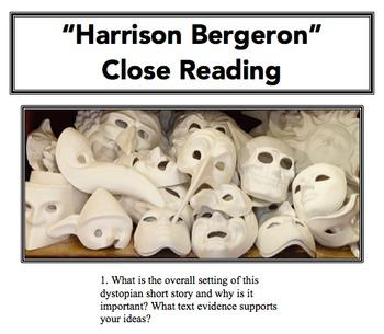 """Harrison Bergeron"" Close Reading Lesson"