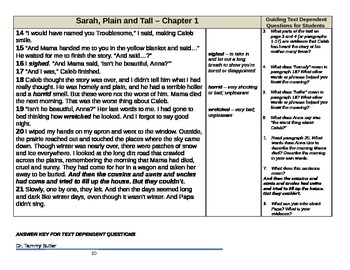Close Reading Lesson Plan: Sarah, Plain and Tall Chapter 1