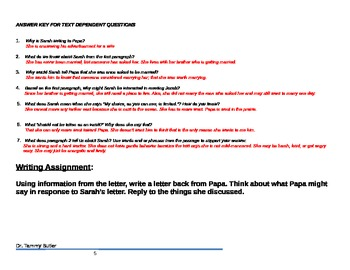 Close Reading Lesson Plan: Sarah, Plain and Tall, Chapter 1,  Sarah's Letter