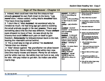 Close Reading Lesson Plan: The Sign of the Beaver - Chapter 13
