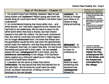 Close Reading Lesson Plan: The Sign of the Beaver - Chapter 21 - Matt's Struggle