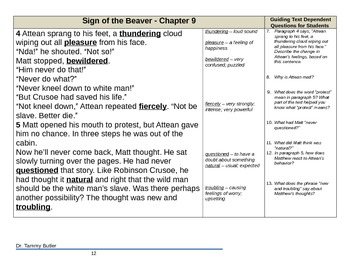 Close Reading Lesson Plan: The Sign of the Beaver - Chapter 9