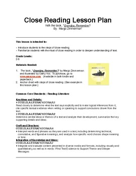 """Close Reading Lesson Plan with the Text:  """"Grandpa, Remember?"""""""