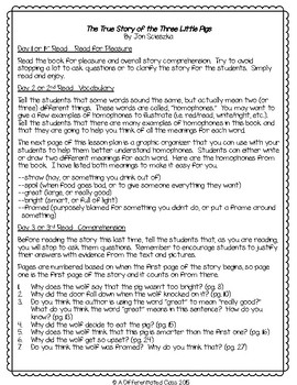Close Reading Lesson Plans for 3 Variations of The Three Little Pigs