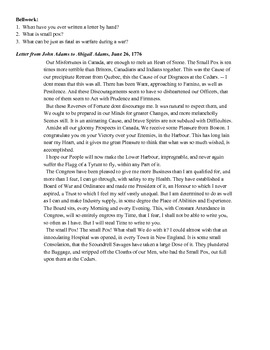 Close Reading - Letter from John to Abigail Adams