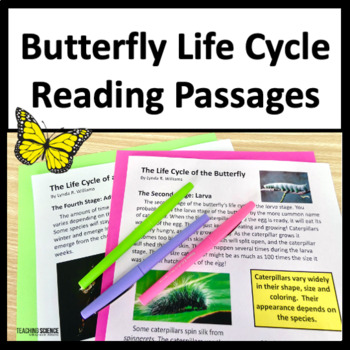 Close Reading Life Cycle of a Butterfly NGSS 3-LS1-1 and NGSS 4-L1-1