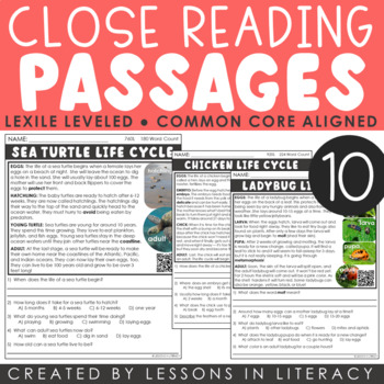 Close Reading: Life Cycles