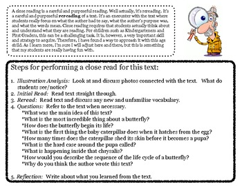 Close Reading ~ Life of a Butterfly: Expository Text Response and Understanding