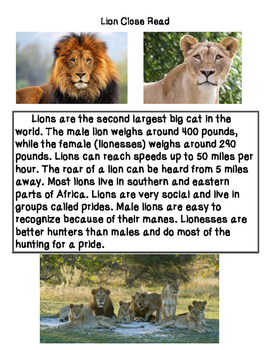 Close Reading ~ Lion: Expository Text