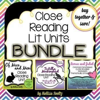 Close Reading Literature Bundle - OfMice&Men, Romeo&Juliet, ToKillaMockingbird