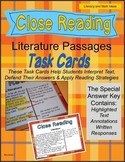 Close Reading Literature Passages Task Cards
