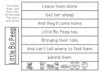 Close Reading - Little Bo Peep - Nursery Rhyme - Beginning Readers