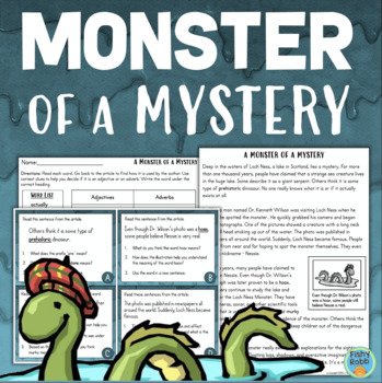Loch Ness Monster Reading Comprehension Activities