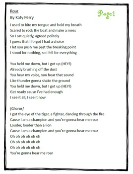 "Poetry They Will LOVE: ""Roar"" by Katy Perry- Close Reading Using Lyrics"