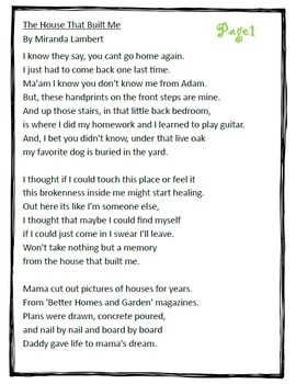 """Poetry They Will LOVE: Close Read Lyrics- """"The House That Built Me."""""""